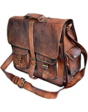 TUZECH Rustic Big Pocket Pure Leather Bag Office Satchel Bag Soft Genuine Leather Adjustable Shoulder Strap(18 Inches)