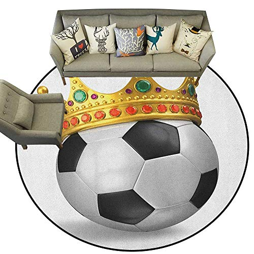 King,Personalized Floor mats Football Soccer Championship Inspired Ball Crown with Ornaments Image Print D78 Floor Mat Entrance Doormat]()