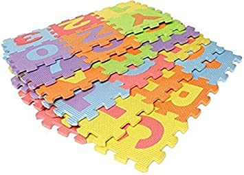 Montez EVA 36 Alphabets Foam Floor Puzzle Play Mat-Small (5.5x5.5inch) (36 Pieces)