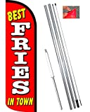 Vista Flags Best Fries in Town Windless Feather Banner Flag Kit (Flag, Pole, Ground Mt)