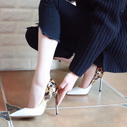 Apricot Zapatos Delgada Punta De De Primavera Stilettos Zapatos ZHUDJ Zapatos Cuero HqwvAxO