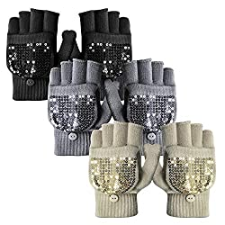 Thermal Winter Knitted Mittens With Sequins