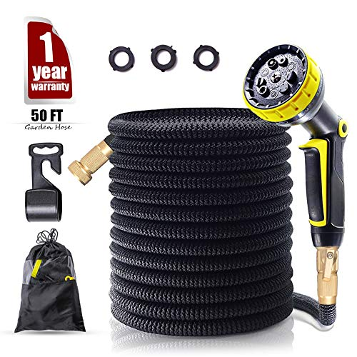 ZYTRY Garden Hose 50ft, Expandable Garden Hose,2018 Upgraded Tangle-Free Water Hose Flexible Hose Garden with Free Storage Bag and Hook for Outdoor Plant and Garden Watering(Black) by ZYTRY