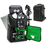 USA Gear Digital SLR Camera Backpack (Green) with 15.6'' Laptop Compartment Features Padded Custom Dividers, Tripod Holder, Rain Cover and Storage for DSLR Cameras by Nikon, Canon, Sony & More
