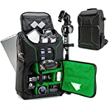 Digital SLR Camera Backpack (Green) with 15.6 Laptop Compartment by USA Gear features Padded Custom Dividers , Tripod Holder , Rain Cover and Storage for DSLR Cameras by Nikon , Canon , Sony & More