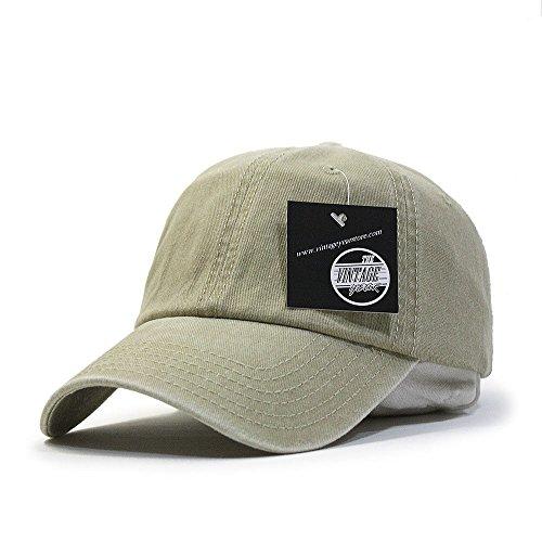 Vintage Year Plain Washed Cotton Adjustable 6 Panel Dad Hat Baseball Cap (Khaki) ()