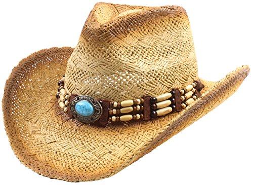 Classic Straw Cowboy Cowgirl Hat Western Outback Wide Brim - M