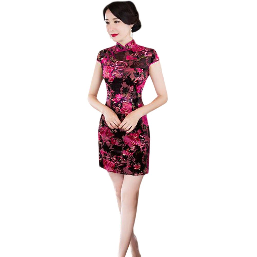 c5ea569af Haodasi Women's Vintage Chinese Traditional Linen Silk Cheongsam Short Sleeve  Floral Printed Qipao Dress: Amazon.co.uk: Clothing