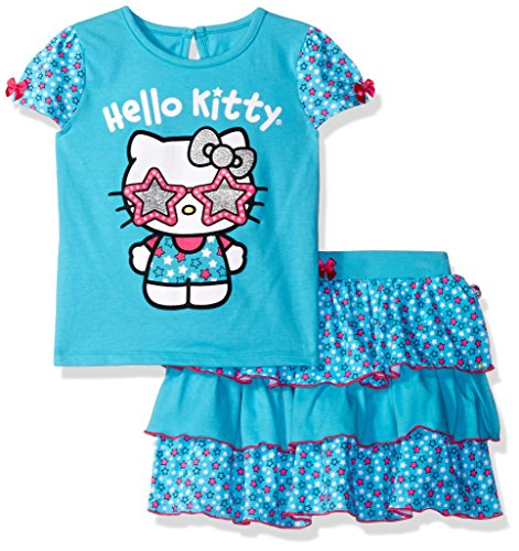 Hello Kitty Skirt (Hello Kitty Little Girls' Toddler 2 Piece Skirt Set, Capri, 4T)