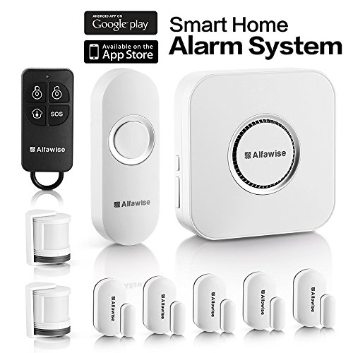 Compatible Alarm - Alfawise Wireless Home Security Alarm System,2.4 G WiFi Alexa Compatible,2 in 1 PIR Motion Sensor,Main Panel,5 Modes Control Burglar Alert,1 Doorbell Button,Control by Smartphone