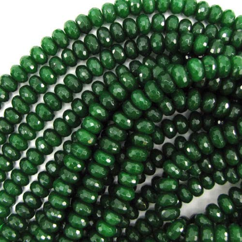 "Faceted Emerald Green Jade Rondelle Beads 15"" 5x8mm"