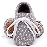 HONGTEYA Leather Baby Moccasins Lace up Rubber Sole Crib Toddler Boots Shoes for Boys and Girls (US3.5M 0-6Months 11cm 4.33  Infant, Grey)
