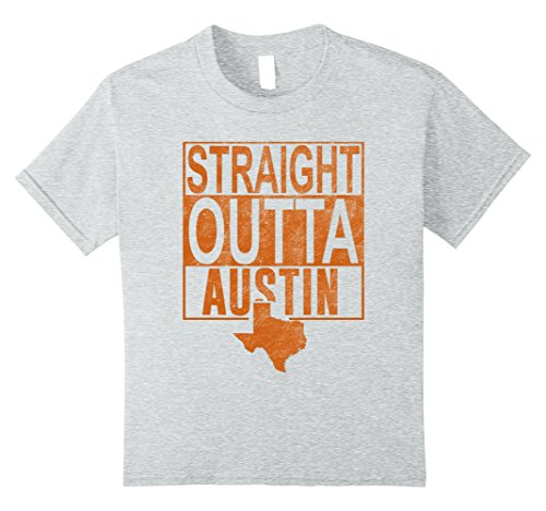 Kids Straight Outta Austin Distressed Shirt 10 Heather Grey