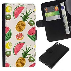 WINCASE Cuadro Funda Voltear Cuero Ranura Tarjetas TPU Carcasas Protectora Cover Case Para HTC Desire 820 - Fruto de piña pintado Dibujo