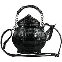 Funny Gothic Purse, Teapot Shaped Crossbody Handbag Top-handle Tote Women's Shoulder Bags