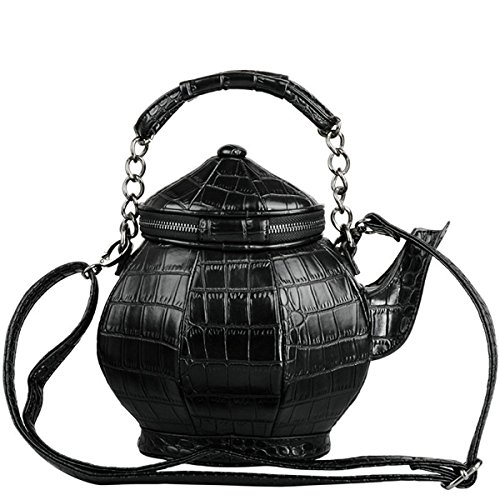 Funny Gothic Purse, Teapot Shaped Crossbody Handbag Top-handle Tote Women's Shoulder Bags -