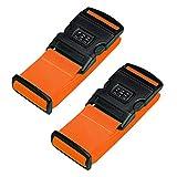 Hibate Luggage Locking Strap Suitcase Baggage Lock Belts - Set of 2, Orange