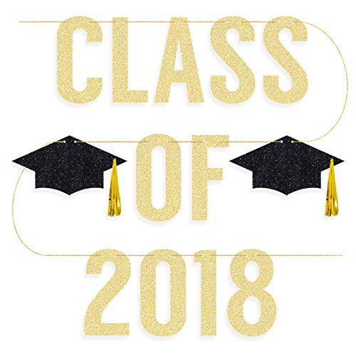 Graduation Party Supplies 2018 - Class of 2018 Banner - Pre-strung | Grad Party Decorations, Graduation Cap Tassel Decor, Gold and Black
