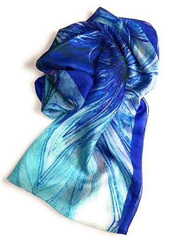 Abstract Scarf (Z&HTrends Womens Genuine Silk Pattern Scarf Infinity (Abstract Blue))
