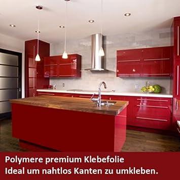 Premium Klebefolie S5186B Rot glänzend 60cm Breite: Amazon.de: Küche ...