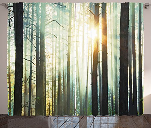 Ambesonne Nature Curtains, Mist in The Enchanted Forest with Sunbeams Painting Effect Digital Art Image, Living Room Bedroom Window Drapes 2 Panel Set, 108