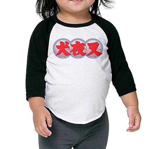InuYasha Kanji Raglan T-shirt Toddler Organic Cotton Baseball Sleeve 3/4 Kid Sweet ()