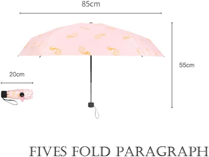 Color : Pink Qeeuanl Pocket Sun Umbrella Sun Protection Sunshade Folding Umbrella Female Ultra Light Compact Portable Rain and Rain Dual-use