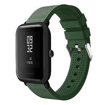 Correas de Relojes, Hanyixue Deporte Suave Silicona Reloj Banda Wirstband Accesorios para Huami Amazfit Bip Watch Ejército verde