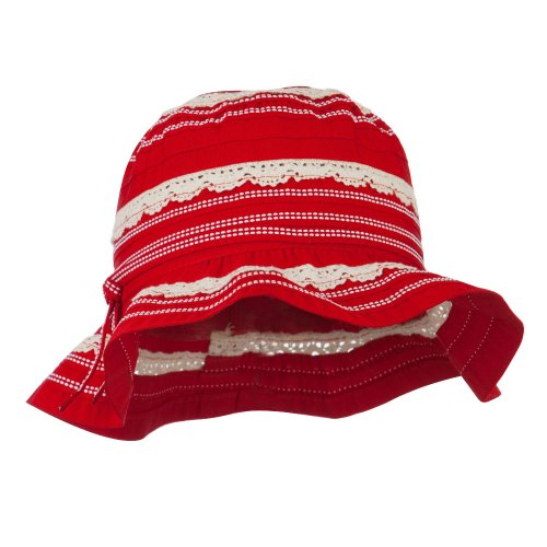 - Girl's Bucket Hat with Lace Detail - Red OSFM