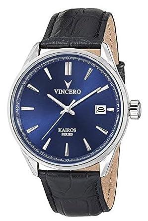KAIROS blau-schwarz Armbanduhr mit italienischem Marmor CaseBack
