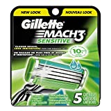 Gillette Mach3 Men's Razor Blade Refills, Sensitive, 5 Count, Mens Razors / Blades