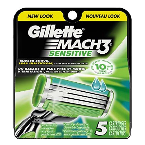 Gillette Mach3 Men's Razor Blade Refills, Sensitive, 5 Count, Mens Razors / Blades
