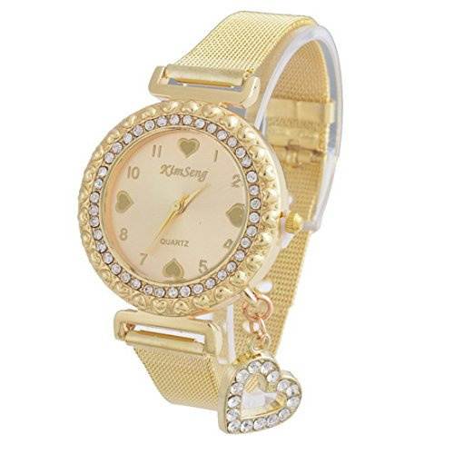 Souarts Gold Color Steel Heart Dial Plate Heart Bead Quartz Bracelet Wrist Watch (Gold Plate Diamond Watch)