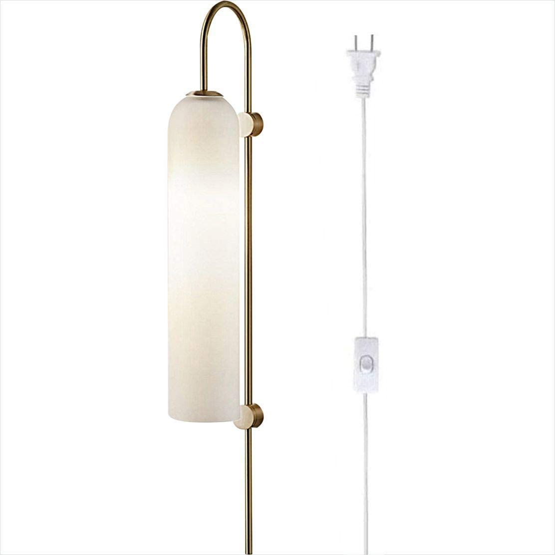 BOKT Modern Wall Sconces 1-Light Wall Mounted Light Mid Century Modern Wall Decor Stylish Lighting Lamp Long Tube Glass Vanity Light Fixture (Milk White, Plug in)