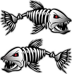 Amazon Com Digital Skeleton Fish 2 Vinyl Decals For