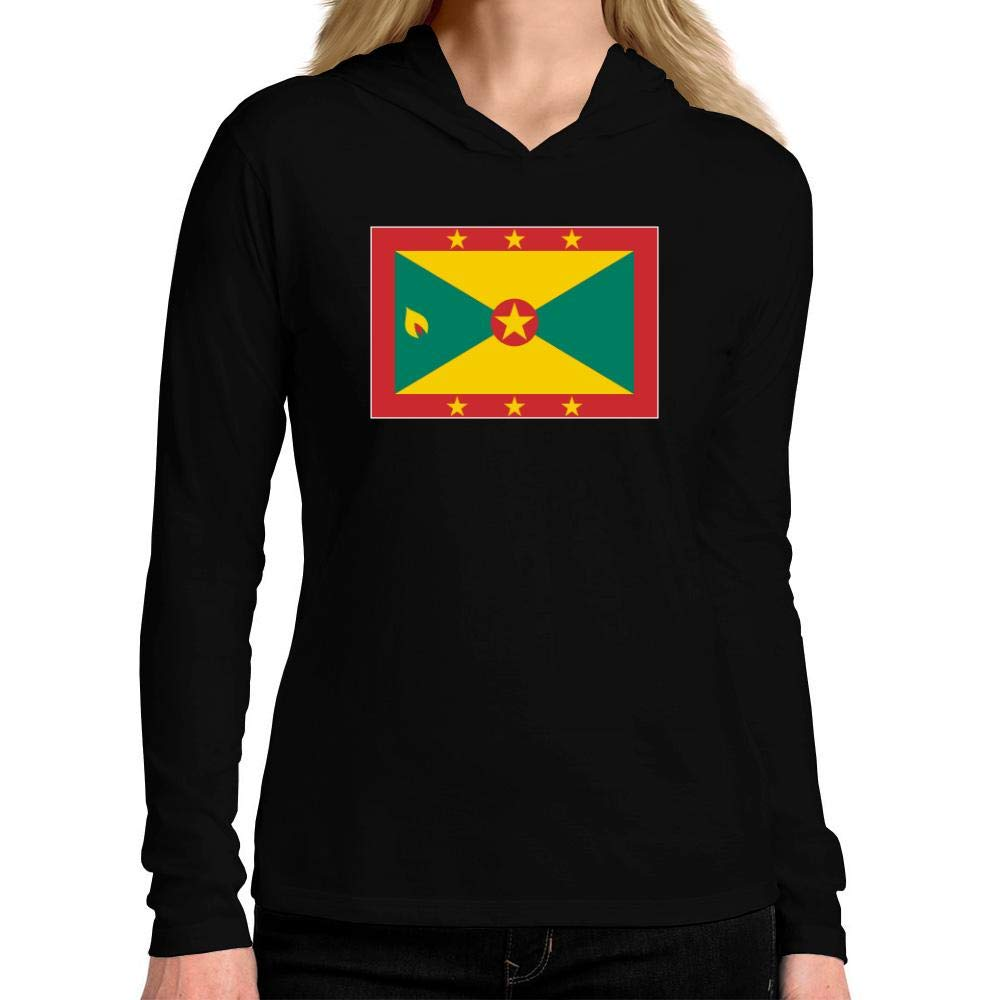 Idakoos Grenada Flag Rectangular Women Hooded Long Sleeve T-Shirt