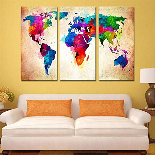 BFY Frameless Huge Wall Art Oil Painting On Canvas Colorful World Map Home Decor by BFY (Image #2)