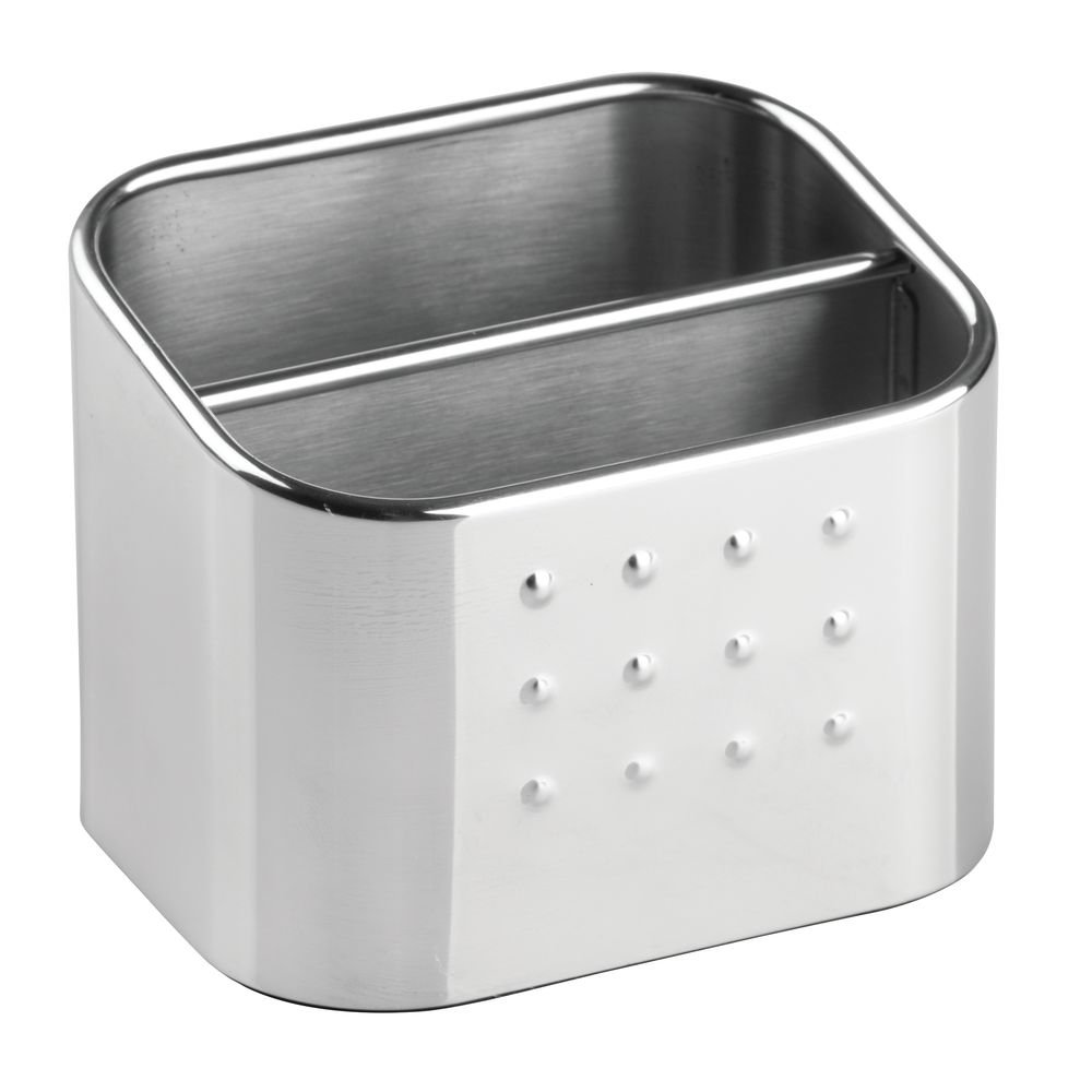 InterDesign Forma Double-Compartment Sink Caddy, Sponge Holder and Soap Dish Set for Bathroom or Kitchen, Made of Stainless Steel, Silver 66072