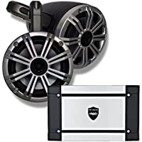 Kicker Marine Black Wake Tower System w/Silver 6.5 Speakers, Wet Sounds HT-4 400 Watt Marine Amp