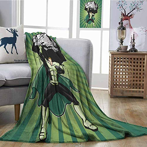SONGDAYONE Blanket Superhero Easy to Carry Hero Man Figure Lifting Large Boulder Rock Rescue Boys Kids Illustration Forest Green Black W54 xL84 -