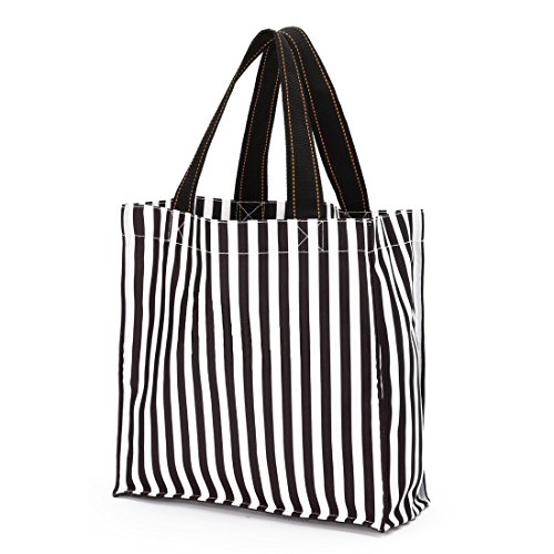 Halloween Trick-or-Treat Candy Tote Bag with Reinforced Handle and Bottom (Black Stripes)