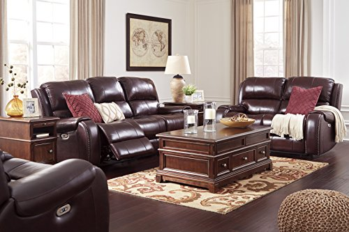 Gilmanton Contemporary Burgundy Color Leather Power Reclining Sofa And Loveseat, Recliner with Adjust Headrest For Sale