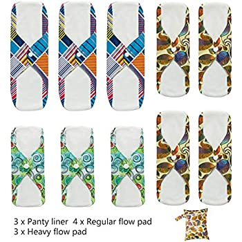 Angelhood 10 Pcs Reusable Sanitary Pads | Washable Cloth Menstrual Pads | Bamboo Sanitary Napkins | Panty Liners with Waterproof Bag for Comfort and Support (3×S,4×M,3×L)