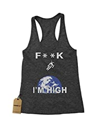 Expression Tees F**K I'm High Space Man Triblend Racerback Tank Top for Women