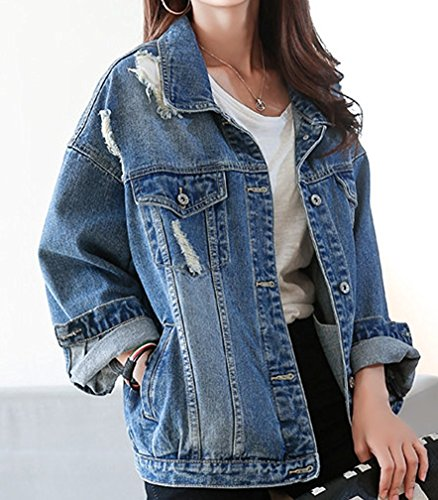 Duty VADOO Jacket Boyfriend Washed Frauen 03 Denim Blau Damen Pocket Mantel Langarm Jacke Casual Denim Heavy Jean Blau Lose Button rwCSqtx6r