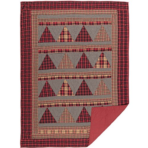 VHC Brands Chili Pepper Rustic & Lodge Seasonal Bedding Andes Quilt, Twin, Red ()
