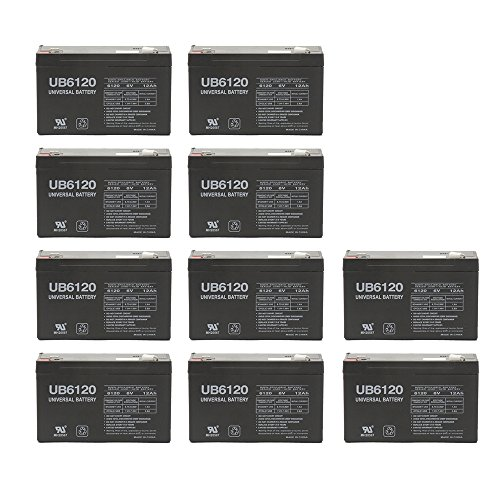 6V 12 AH F2 UB6120F2 UPS Battery Replaces CSB GP6120F2, GP 6120 F2 - 10 Pack by Universal Power Group