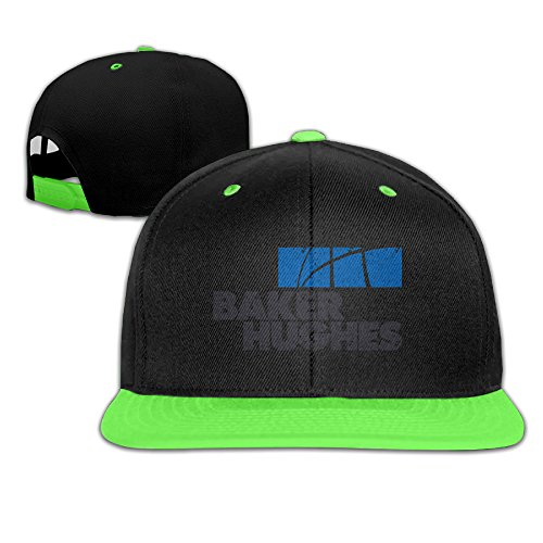 Contrast Grunge Baker Hughes Logo Snapback Flat Brim Hat Kids Kellygreen