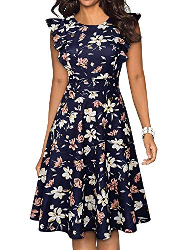 - YATHON Women's Fit and Flare Summer Dresses Vintage Navy Multi Floral Print Ruffle Trim Sleeve O-Neck Swing A-Line Party Casual Dress (S, YT001-Navy Floral)