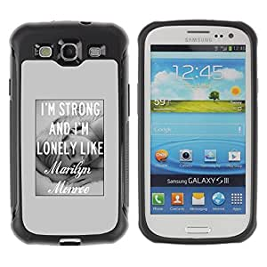 Suave TPU GEL Carcasa Funda Silicona Blando Estuche Caso de protección (para) Samsung Galaxy S3 III I9300 / CECELL Phone case / / Grey Love Girl Actress Hollywood Black White /